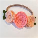 """Nora"" felt flower & nylon headband in shades of peach and gold"