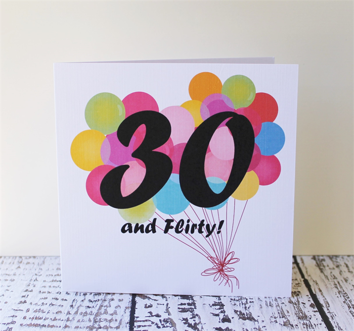 Thirtieth Birthday Card Thirty And Flirty Balloons Square Cards