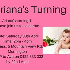 Baby Girl's 1st Birthday Invitation (Digital File)
