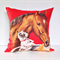 Horse cushion cover Puppy dog Tea Towel Upcycle rustic linen pillow cover