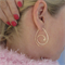 Gold Hoop Earrings Spiral Leaf Large hoops Coil Teardrop Hoop