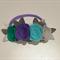 """Gigi"" headband dark mint, deep lilac, turquoise and pale grey"