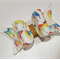 Rainbow Unicorn - artisan felt fabric bow hair clip  (1 clip)