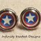 Captain America Glass Dome Cabochon Stud Earrings