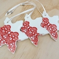 Red & white Christmas decorations. Ceramic snowflake ornaments. Teachers gift.