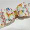 Rainbow Unicorn Large Double Bow Felt Fabric hair clip (1 clip)