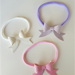 Dainty faux leather leatherette bow headband on nylon