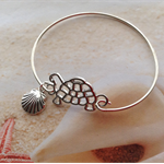 Silver Tone Turtle Shell Charm Bangle Bracelet Nautical Beach Wear Jewellery