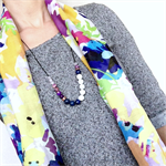 Gift Set - Silk/Cotton Scarf & Gemstone Necklace - Navy & Purple