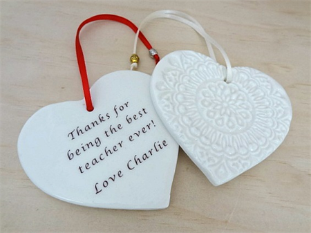 Personalised ornament. Custom made decoration. Personalised gift. Ceramic heart.