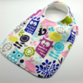 Baby Dribble Feeder Bib, Woodlands Cotton Fabric Bamboo Toweling, Snap Fastened.
