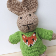 Oliver the  Hand Knitted Bunny Rabbit Toy with Lime Green Fox Jumper