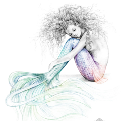 8x10 Tranquil Mermaid Colour Splash Rainbow Tail Art Print Pencil Drawing