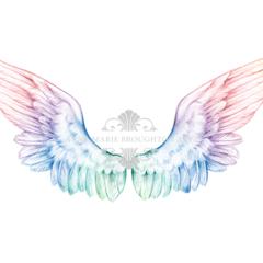 10x8 Angel Wings Art Print Rainbow Pencil Drawing