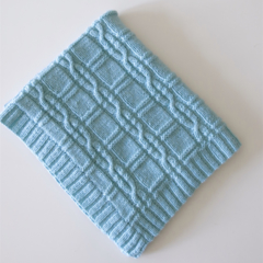 Hand Knitted Mint Green Pure Wool Baby Rug/Blanket,with Beautiful Cable Detail