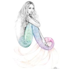 8x10 Daydreamer Mermaid Rainbow Tail Art Print Pencil Drawing
