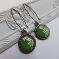Green Blossom Flower Antique Bronze Earrings- nickel free