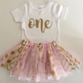 Pink and Gold Fabric Tutu Skirt//First Birthday//Cake Smash Outfit//