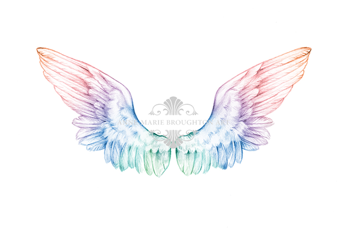 10x8 angel wings art print rainbow pencil drawing