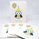 Birthday Boy Card - Any Age 1 2 3 4 5 6 etc - Owl with Birthday No. Balloon