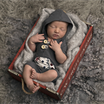 Newborn Prop / Newborn Hooded Romper / Grey / Baby Boy Prop