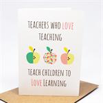 Teacher Card - Teachers Quote with Apples - TEA007 - Thank You Card