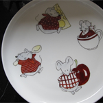 Hand painted plate with mice