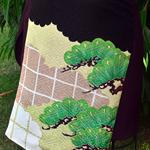 Kimono silk panel wrap skirt