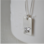 'Bee Charm' Tag Necklace - Sterling Silver.