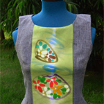 Shell top with cotton yukata panel