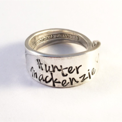 Personalised Hand Stamped Vintage Silver Spoon Ring Names Family love