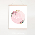 Personalised Print - Children's art. Pink watercolour with florals. A4 Print