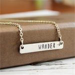Silver Personalised Bar Necklace - Customised Hand Stamped Bar Necklace