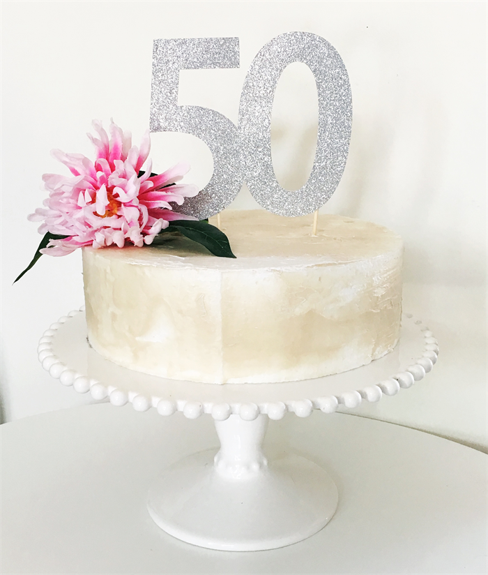 50th Birthday Cake Topper Silver Glitter Large Number 50 Little
