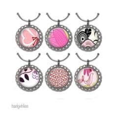 6 Wine Glass charms - Pink