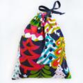 Christmas Gift Bag - Reusable & Eco Friendly. Fabric Xmas Bag. Colourful Trees.