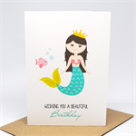 Birthday Card Girl - Mermaid with Fish - HBC208
