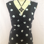 BLACK & WHITE POLKA DOT LADIES  TOP size 16