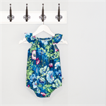 Spring poppies navy, green & purple Baby Playsuit / Onesie