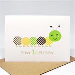 1st Birthday Card Boy - Green and Brown Caterpillar - HBC211