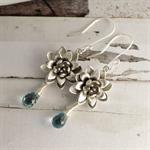 Silver Flower Earrings - Christmas Gift for Mum - Blue Topaz Briolette Earrings