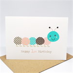 1st Birthday Card Girl - Pink and Brown Caterpillar - HBC212