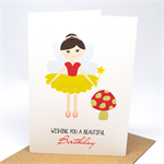 Birthday Card Girl - Fairy with Red Toadstool - HBC213