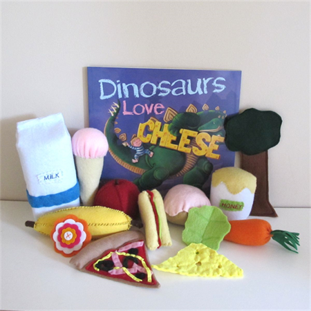 Dinosaurs Book and Felt Food Set