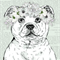 """Staffordshire  Bull Terrier with Floral Garland 8"""" x 10""""  Dog Art"""