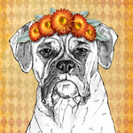 "Boxer with Floral Garland 8"" x 10""  Dog Art Gift for Dog Lover"