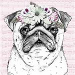"Pug with Floral Garland 8"" x 10""  Dog Art Gift for Dog Lover"