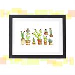 Cactus Print A4 Succulent Art Cacti Painting Cactus Illustration Kitchen Art