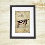 Cow Friesian A4 Vintage Antique Style Print Farmhouse Kitchen Art
