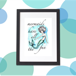 Mermaids Have All The Fun Print A4 Girls Bedroom Nursery Decor Art